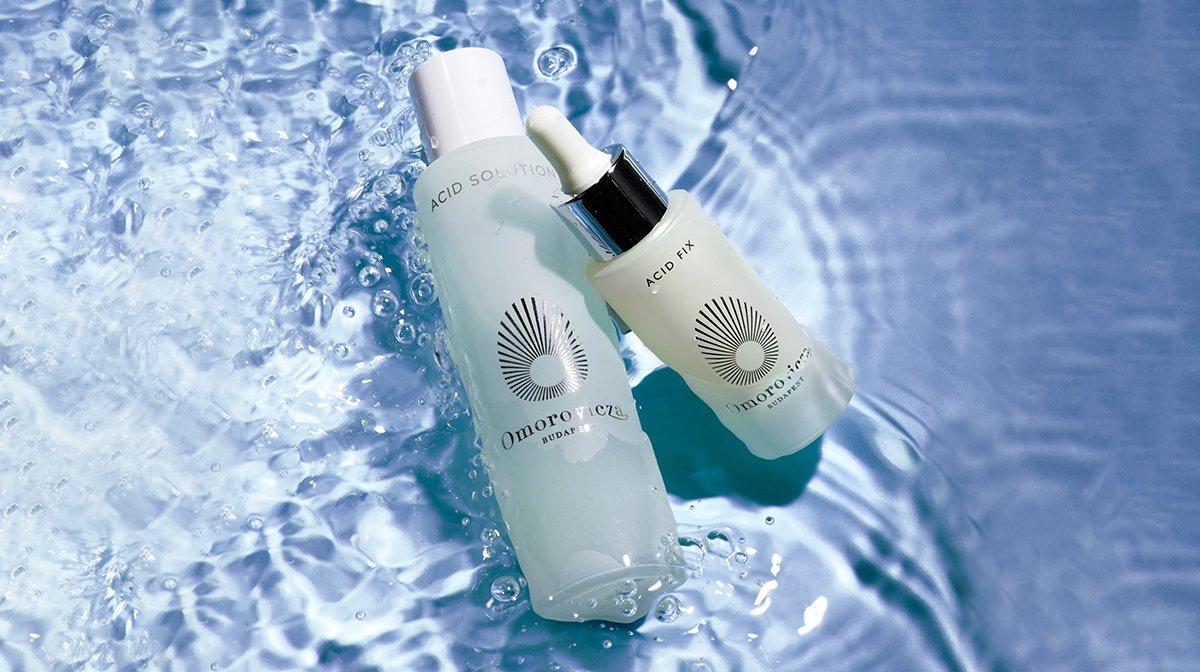 Bottles of Omorovicza glycolic acid skincare products