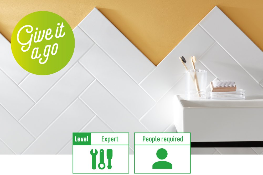 how to lay herringbone tile pattern