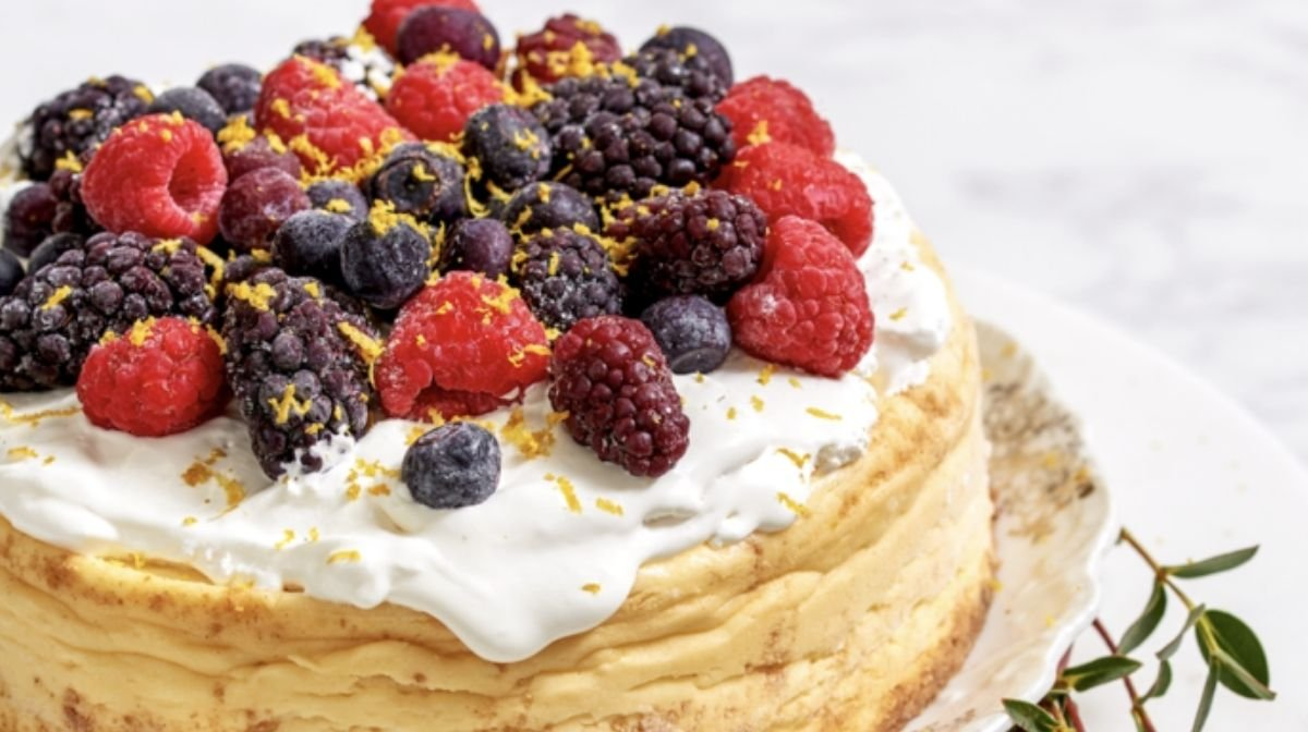 lavender and lemon collagen cheesecake