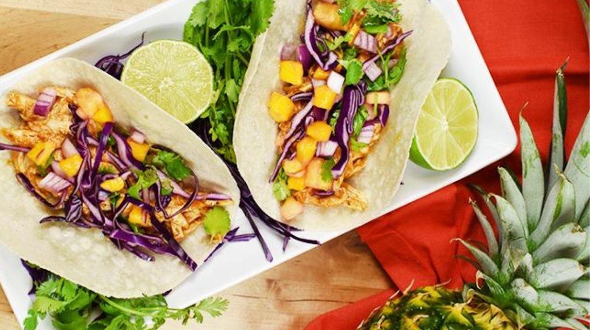 slow cooker Hawaiian bbq chicken tacos