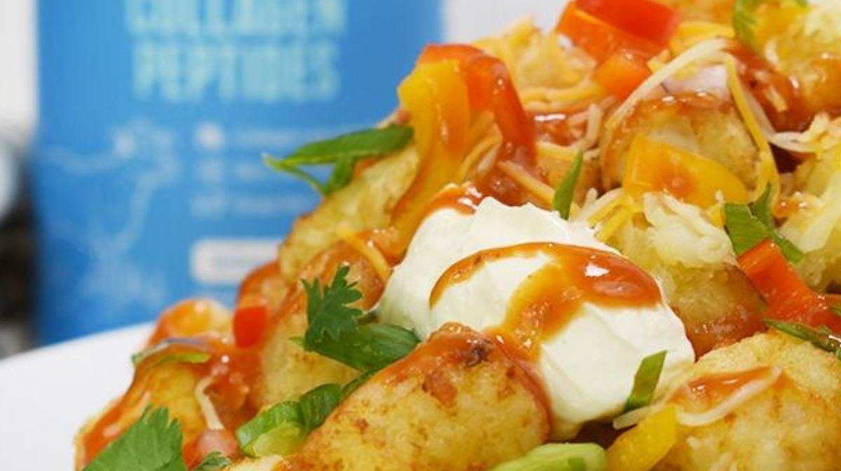 cauliflower nachos stack with Vital Proteins Collagen Peptides