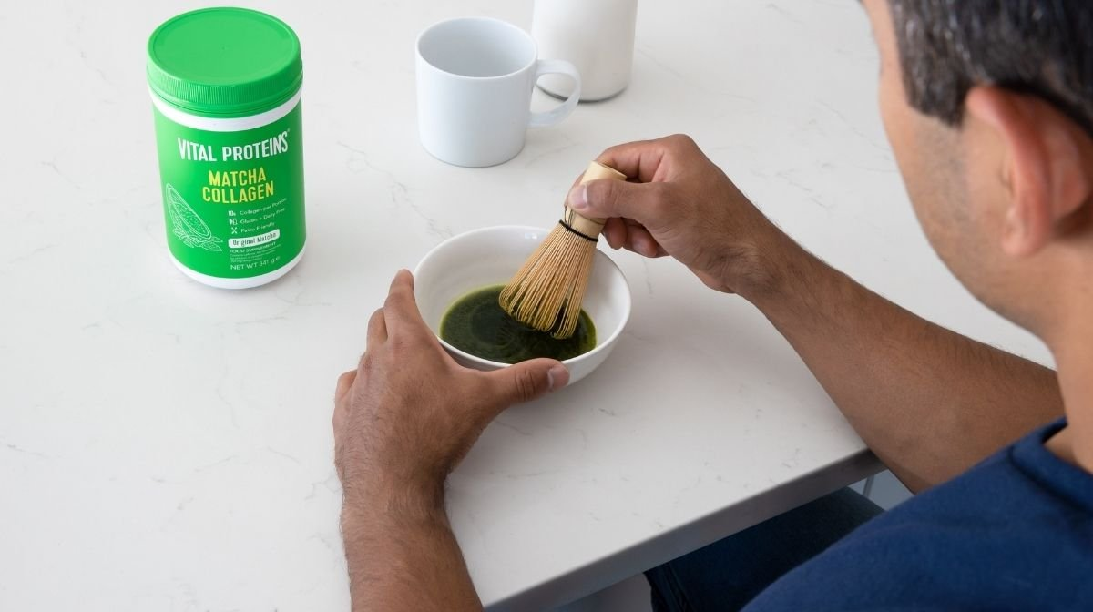 man mixing Vital Proteins Matcha Collagen Powder