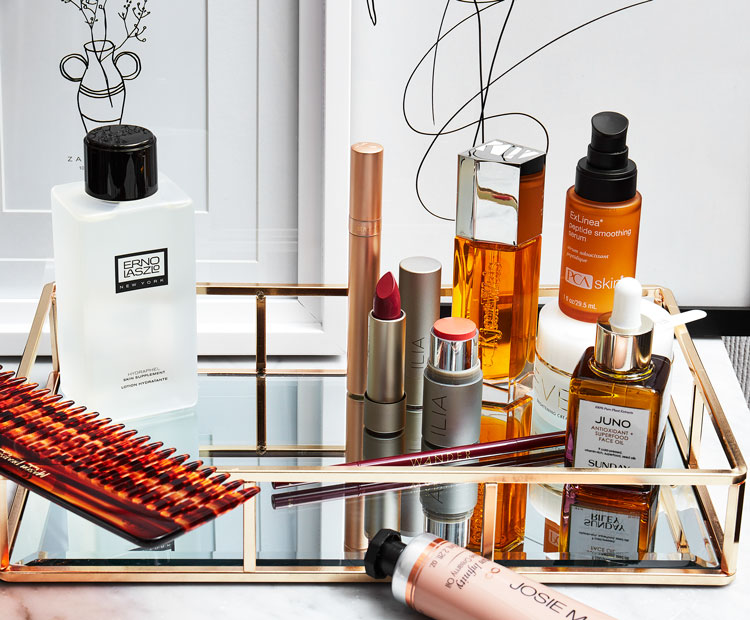 beauty products on table 2