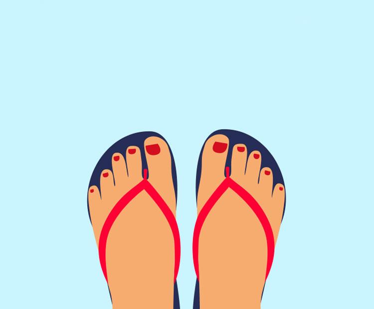Feet flipflops on blue background illustration 2