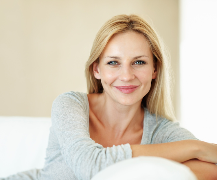 blonde haired woman smiling