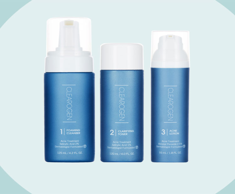 Clearogen skin care products on blue 1 | Dermstore Blog
