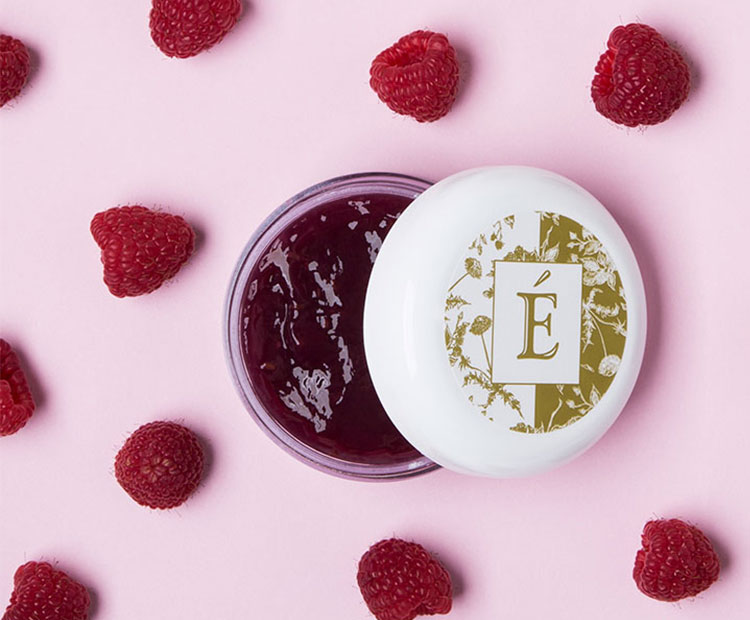 Eminence with Raspberries on pink background 1
