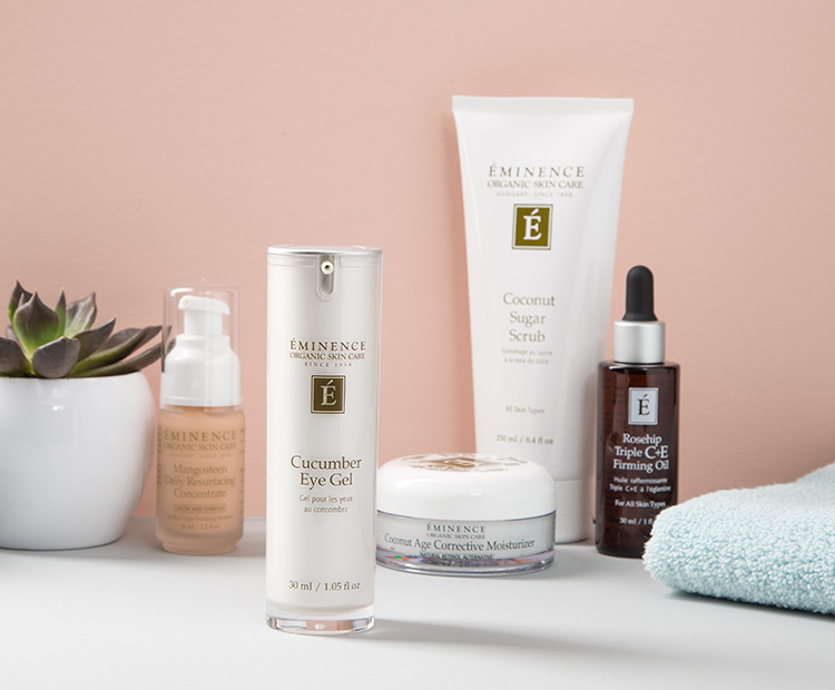 Eminence Organic Skin Care Products on Bathroom Counter 2
