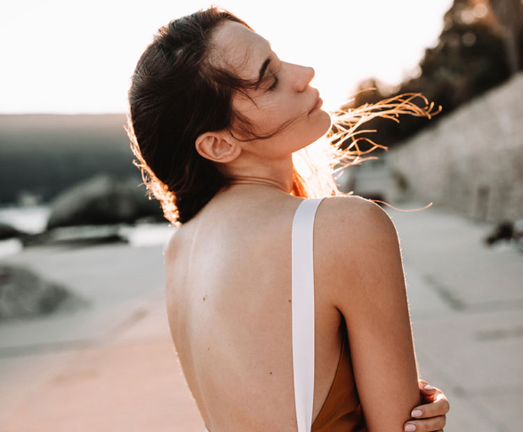Woman with bare back