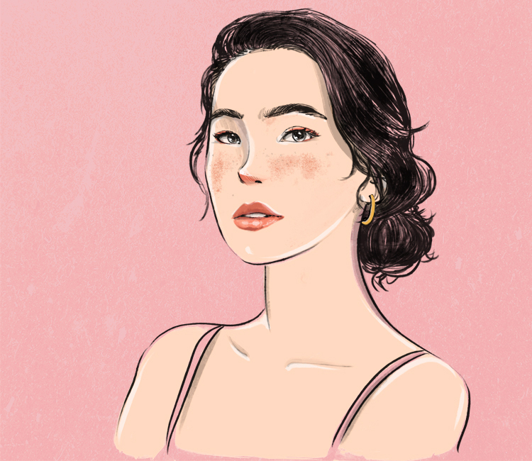 Girl With Red and Inflamed Skin Illustration 2