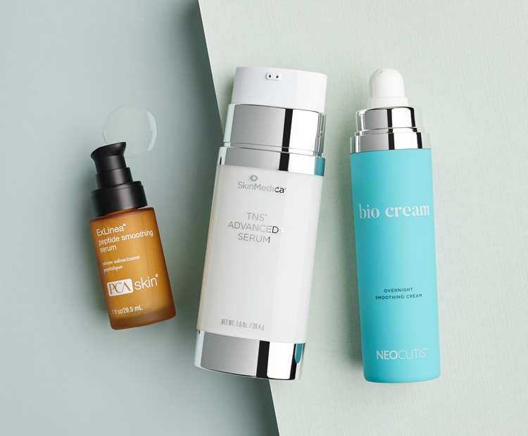 Skin care products with peptides from PCA Skin, SkinMedica and Neocutis