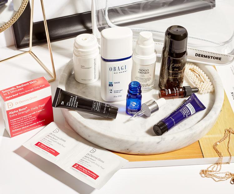 essential skin care set on vanity