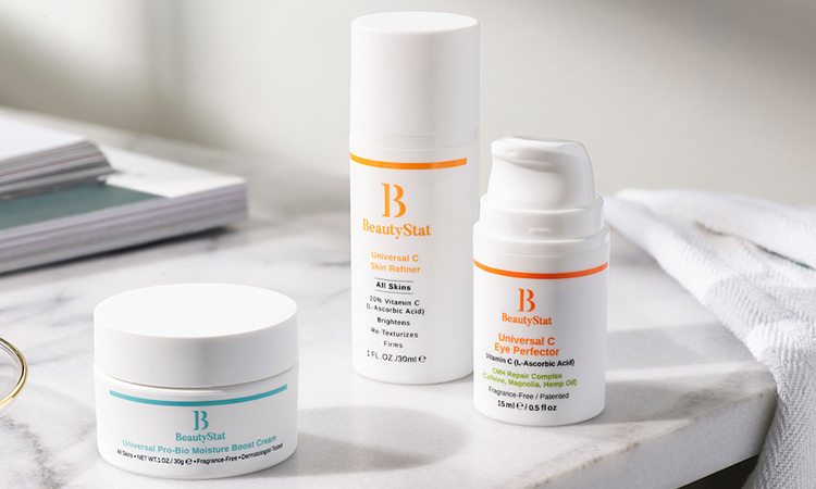 BeautyStat products on a vanity