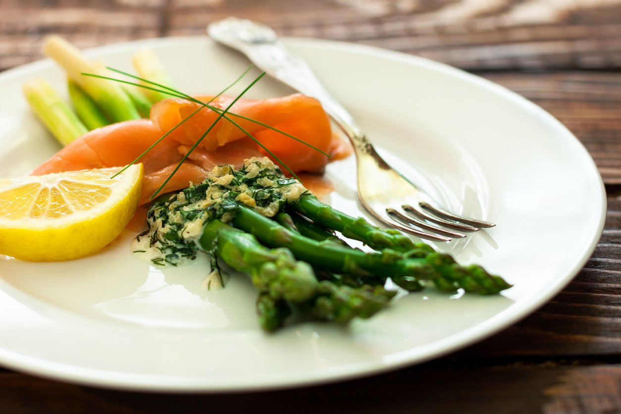 Try this asparagus and salmon starter this Valentine's Day