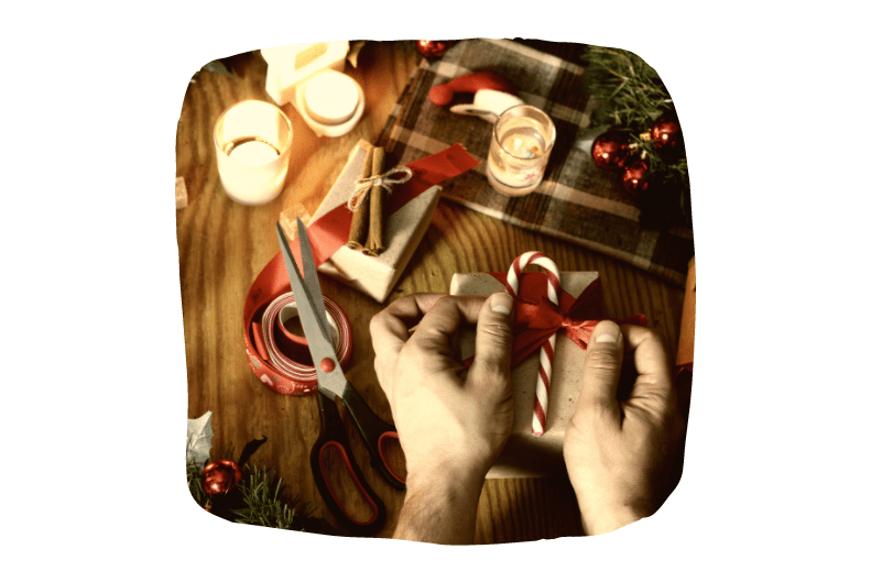 Christmas scissors, wrapping paper, ribbons