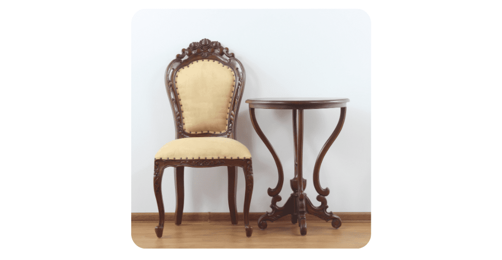 antique chair and table