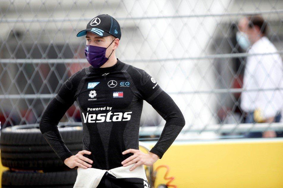 Stoffel Vandoorne wearing Mercedes-Benz EQ Formula E team merchandise