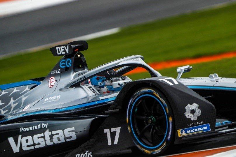 Nyck de Vries driving the Mercedes‐Benz EQ Silver Arrow 02