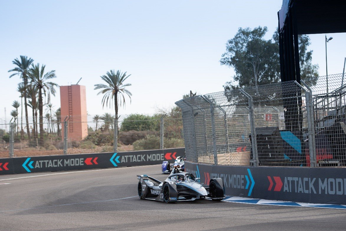One of the Mercedes-Benz EQ Formula E drivers using Attack Mode