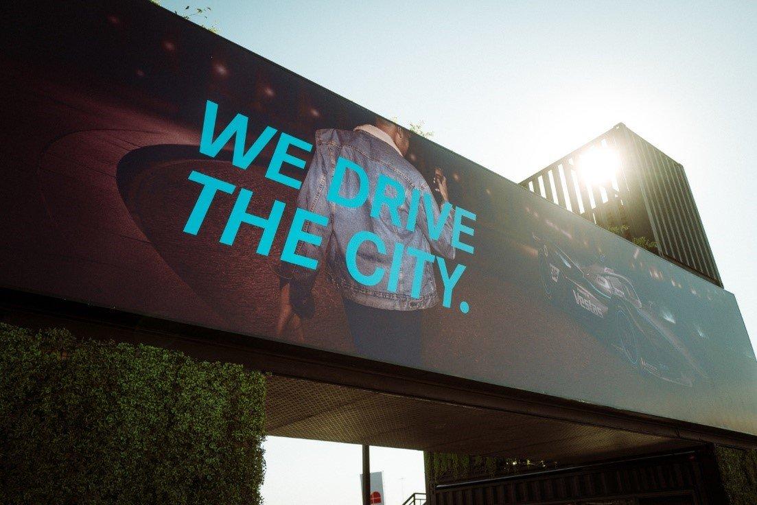 Mercedes-Benz advertisement at a Formula E event