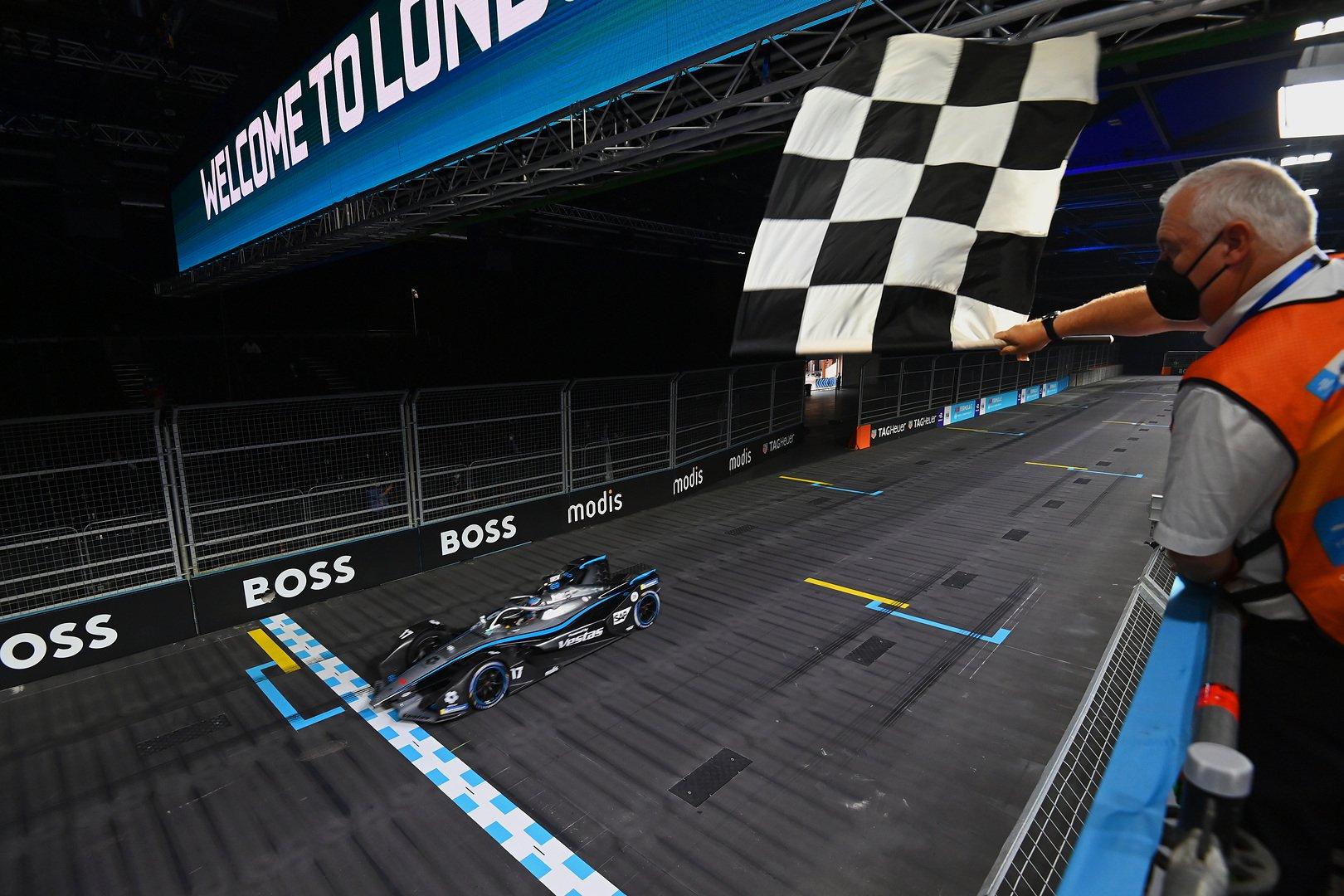 Mercedes-EQ Formula E Team driver crossing the finishing line