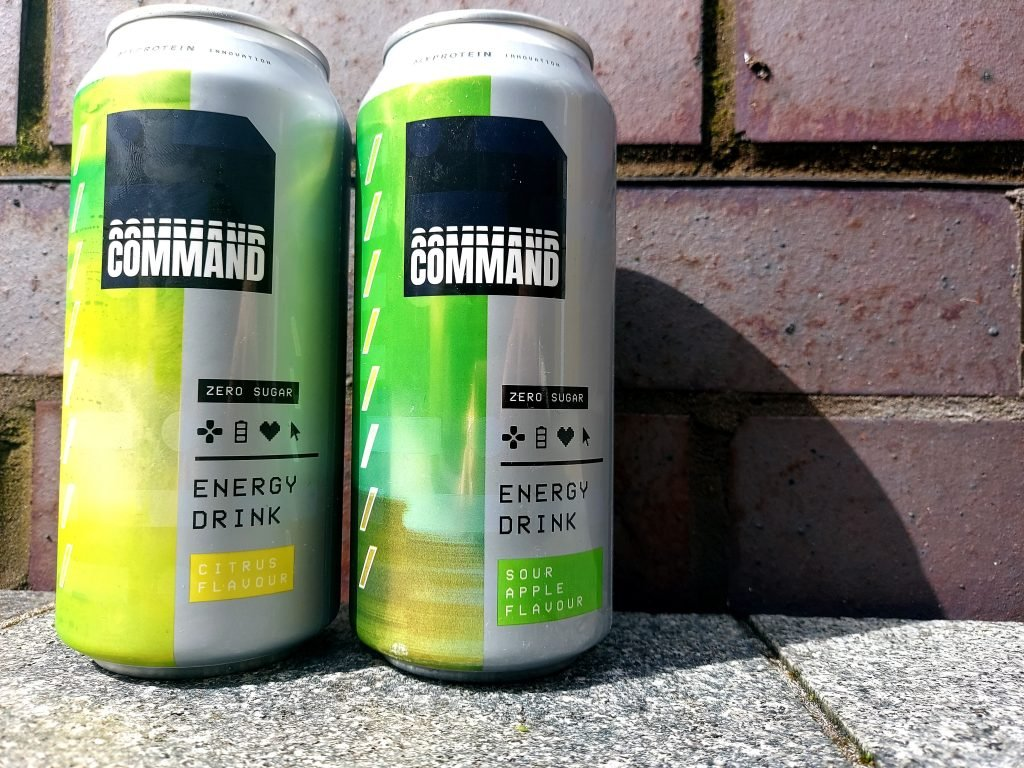Command Citrus energy drink can and sour apple energy drink can