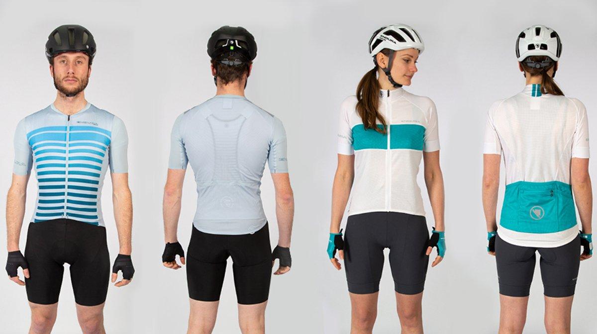 A line-up of Endura cycling jerseys