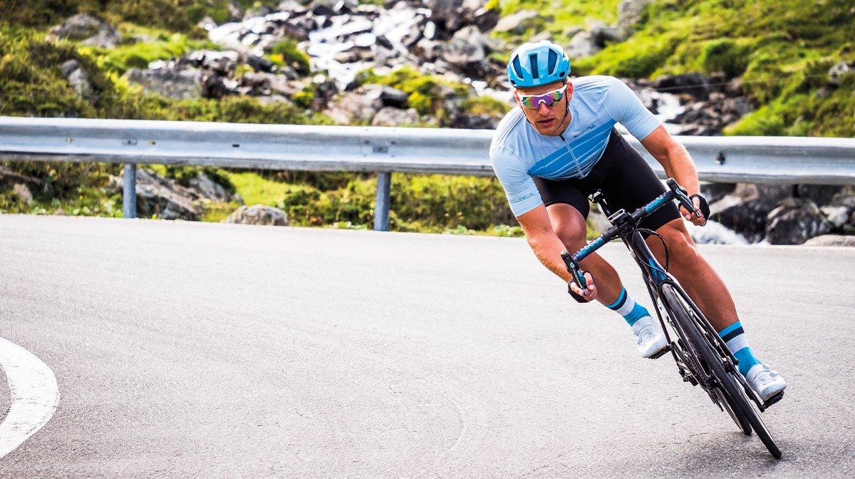A man cycling in Endura Pro SL gear