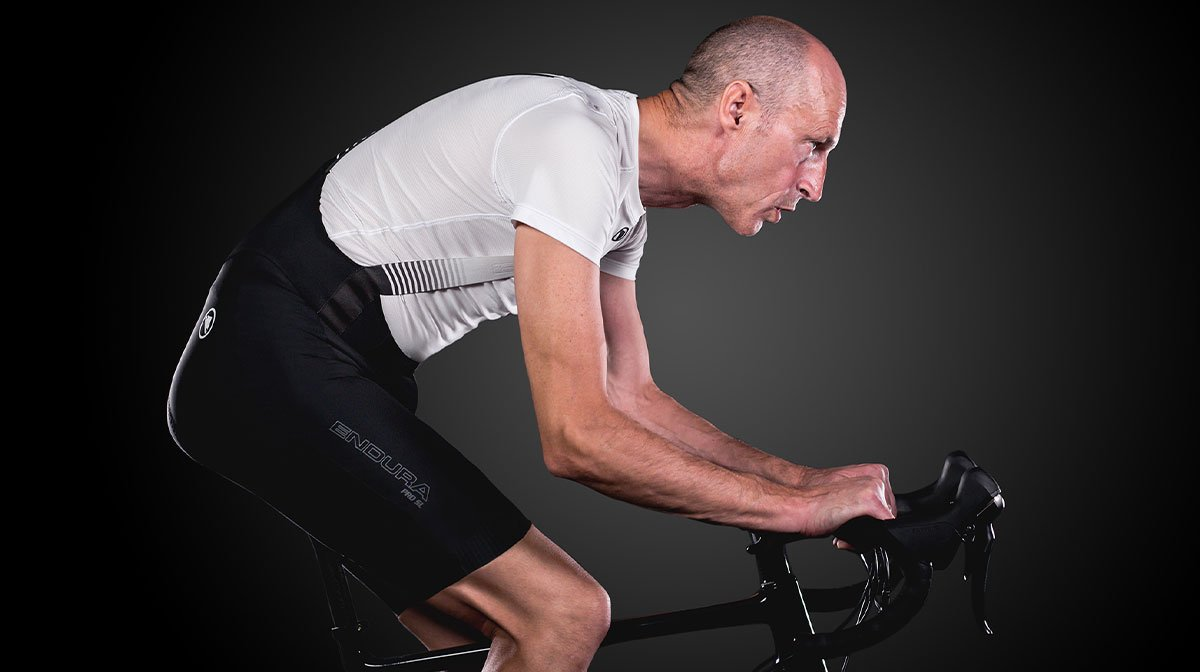 Cyclist practicing position