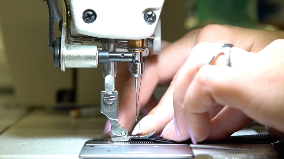 Sewing machine in action