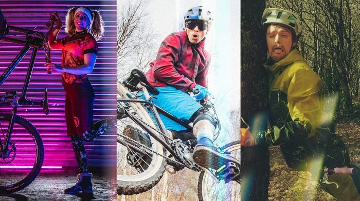 Collage of mountain bike gear
