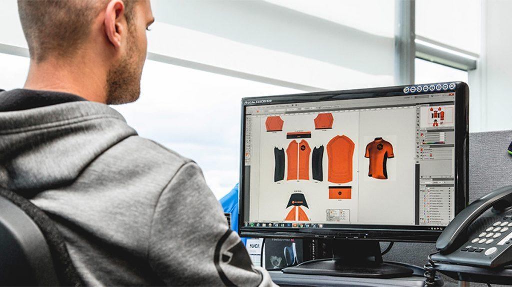 Man looks Endura gear on computer screen