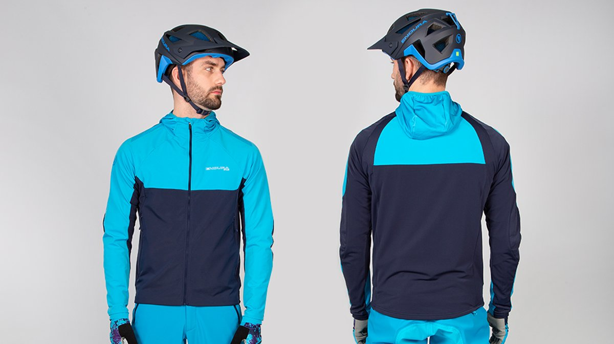 Back and front of blue Endura cycling gear