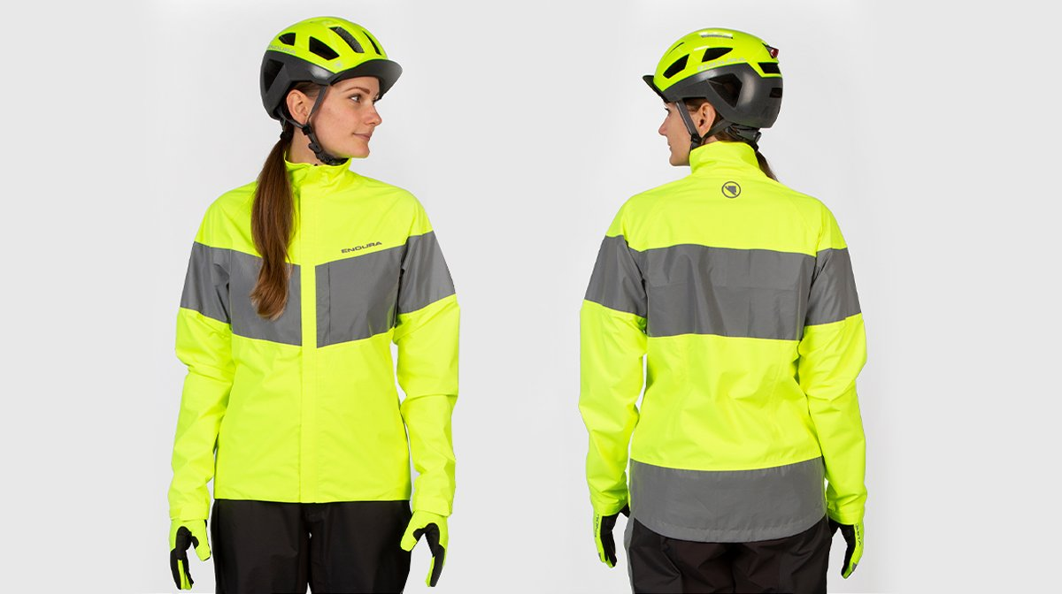 Front and back of high-visibility cycling gear
