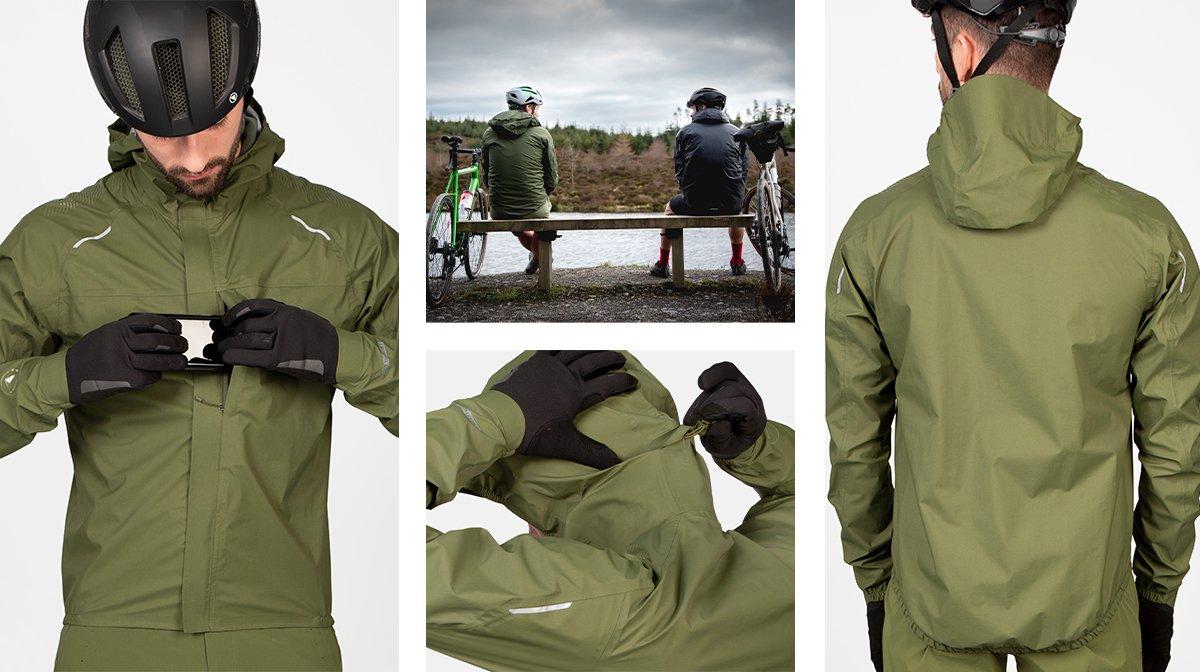 Collage of green Endura waterproofs