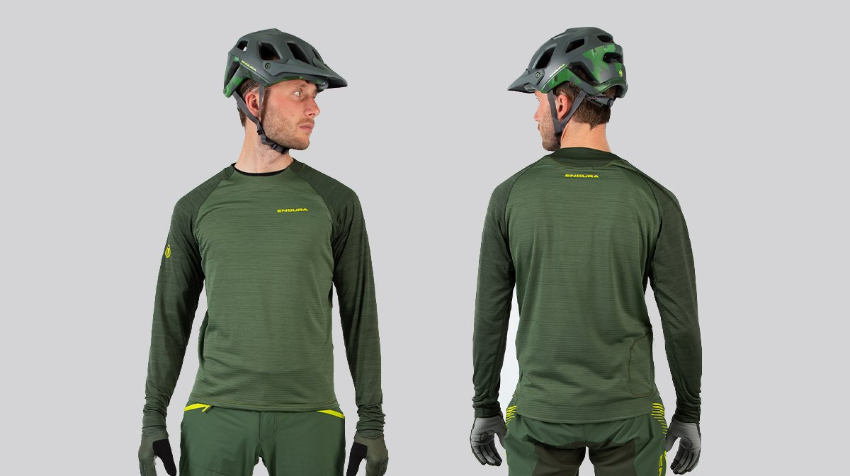 Back and front of green Endura cycling gear