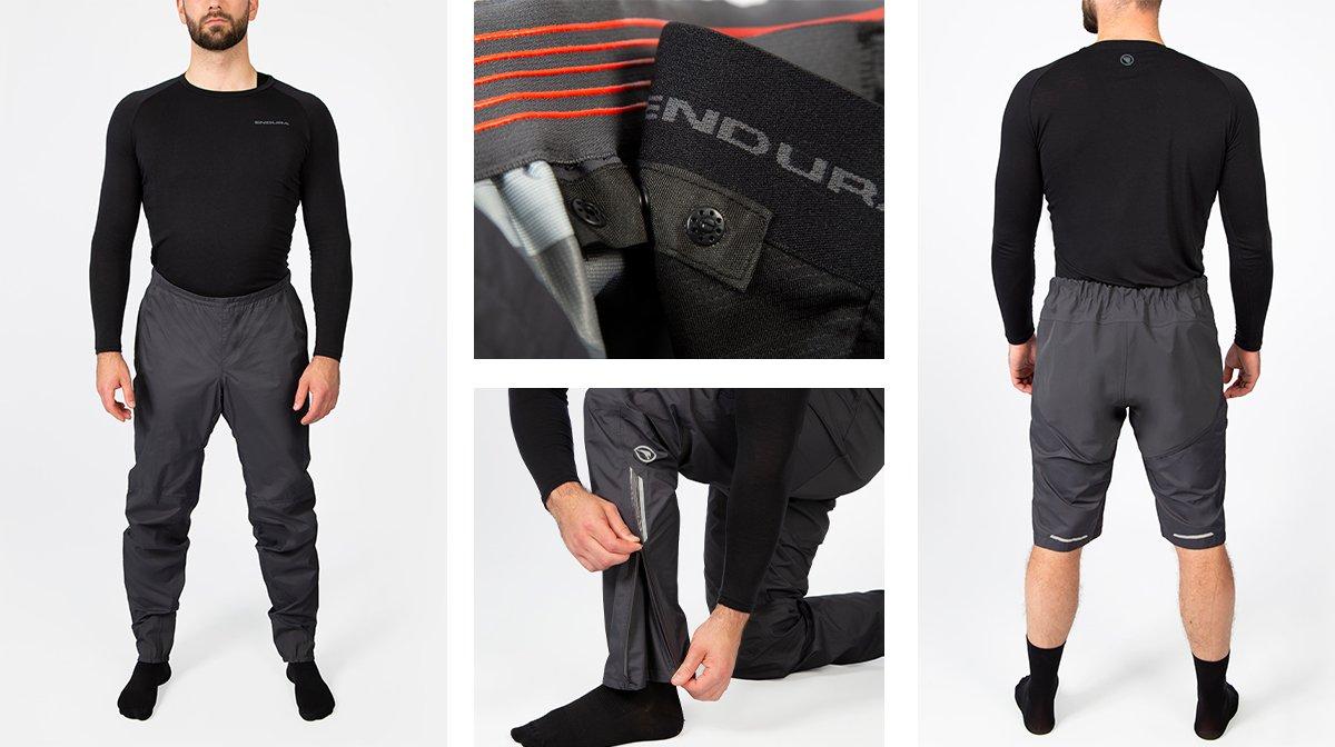 Collage of black Endura gear, showing zip-off pants