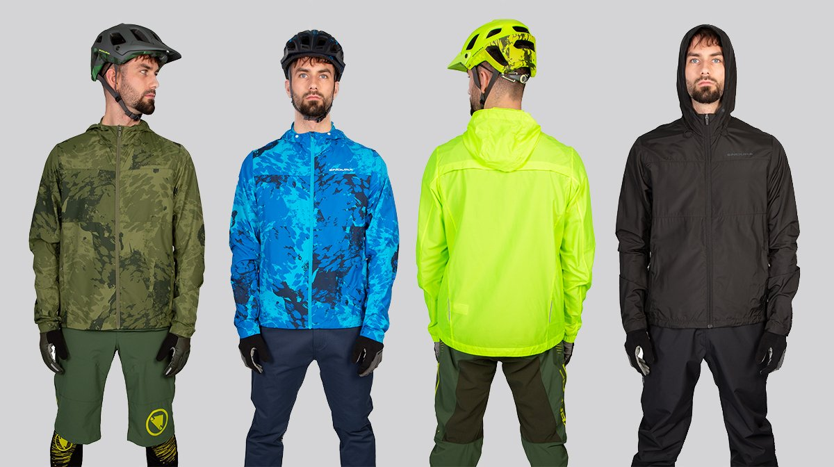 Four different colours of Endura cycling gear
