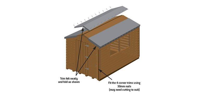 trim felt being added onto shed