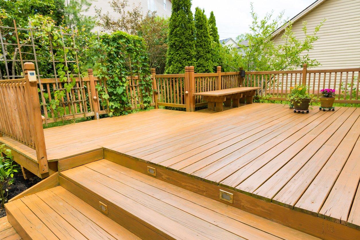Levelled decking in a garden