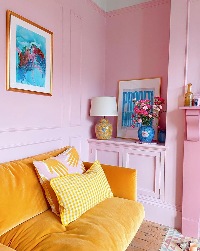 Colourful living room space