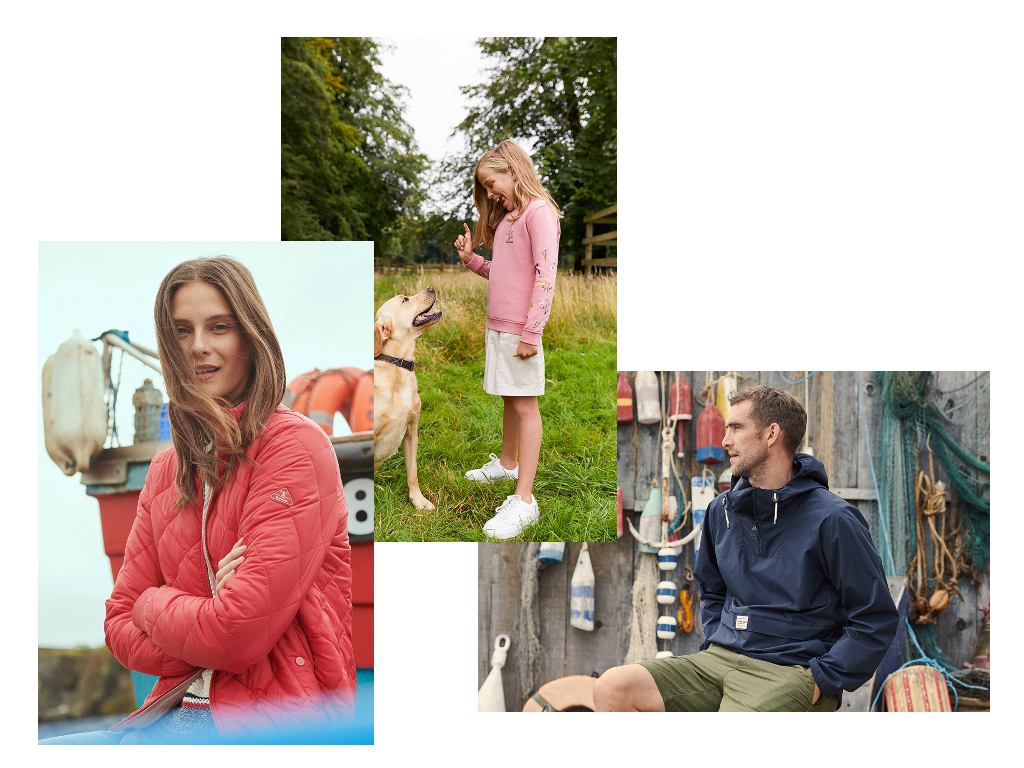 Barbour clothing on families at the beach