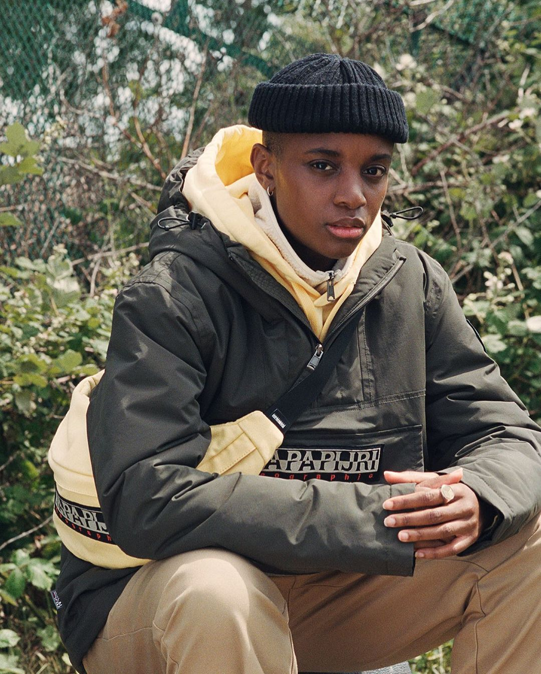 man wearing outdoor jacket