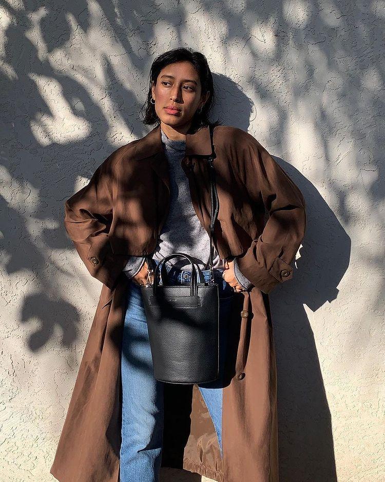 girl with matt and nat handbag