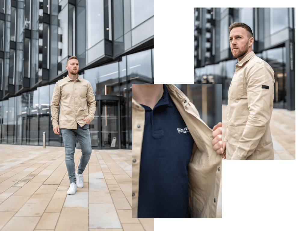 influencer wearing barbour international polo