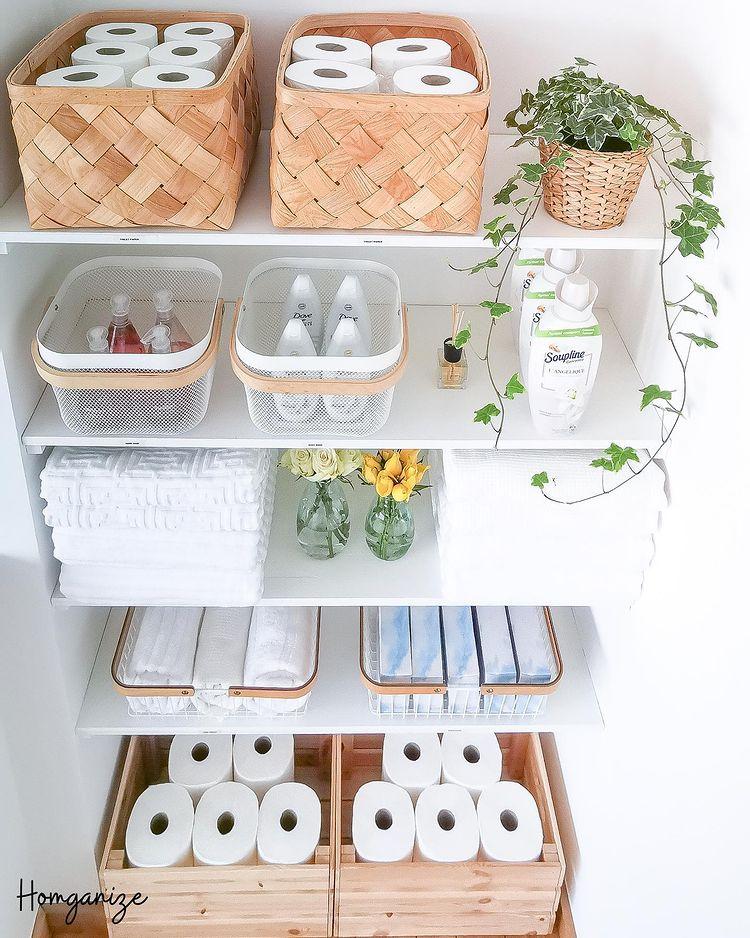 An organised toiletry cupboard
