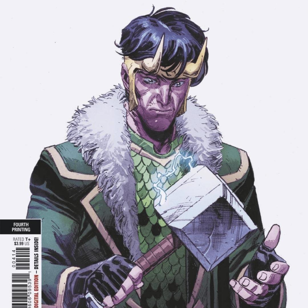 Loki holding Mjolnir in the comics
