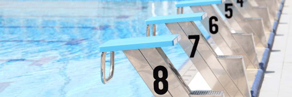 A row of diving boards at a swimming pool