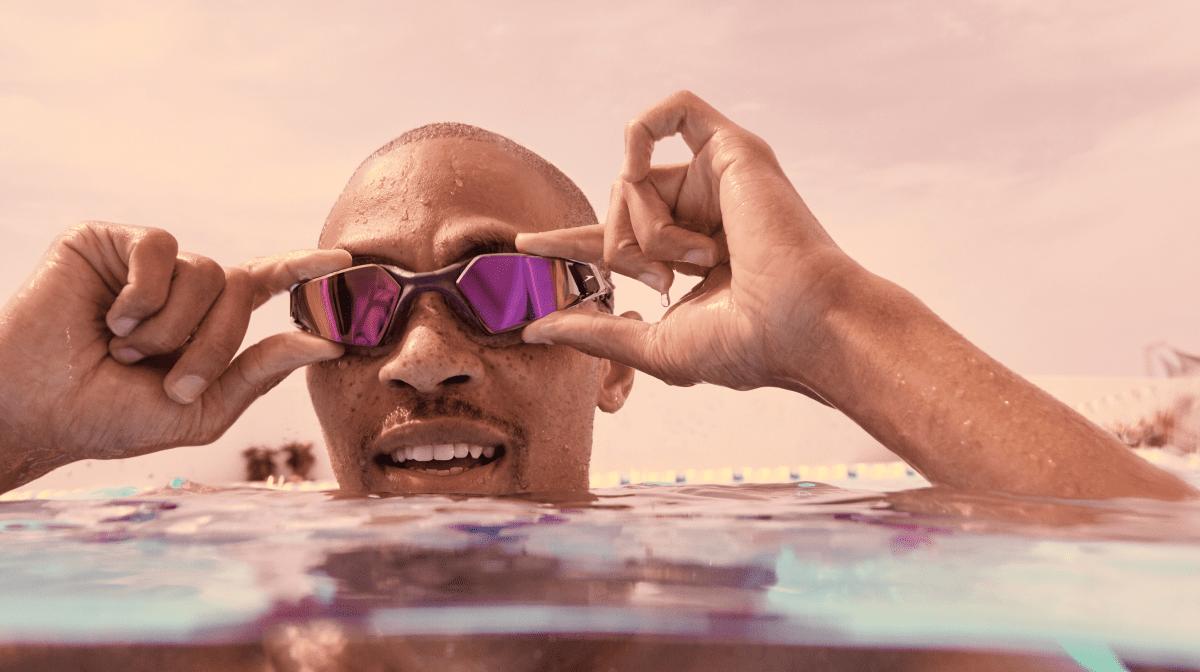 A man wearing Speedo goggles