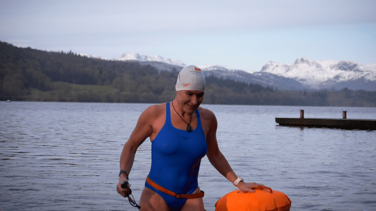 A woman who is wild swimming